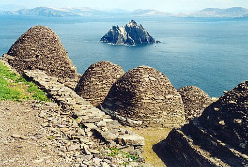 The Skelligs off the coast at Ballinskelligs - an inspiration for John Main's future interest in Christiam meditation. [By Arian Zwegers (Skellig Michael  Uploaded by russavia) [CC BY 2.0 (http://creativecommons.org/licenses/by/2.0)], via Wikimedia Commons]